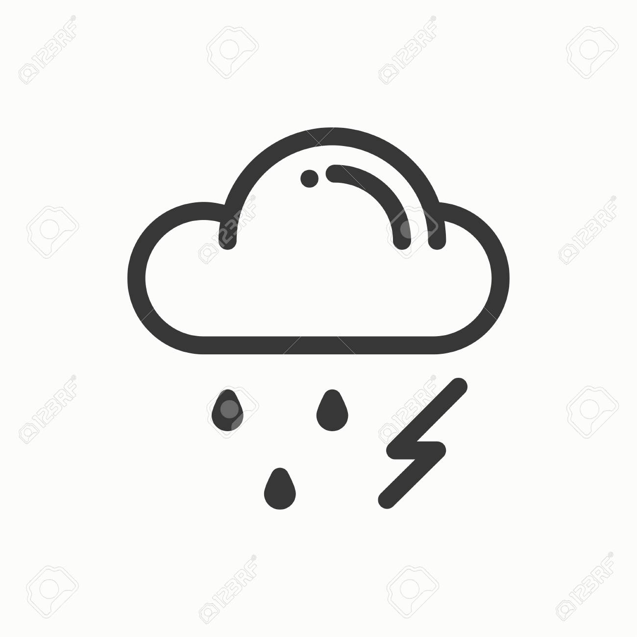 Cloud, sky, rain, storm line simple icon  Weather symbols  Meteorology