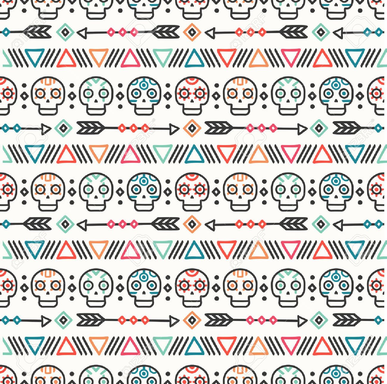 Day of the Dead. Tribal hand drawn line mexican ethnic seamless pattern. Border. Wrapping paper. Print. Doodles. Tiling. Handmade native vector illustration. Aztec background. Texture. Style skull. Standard-Bild - 75748477