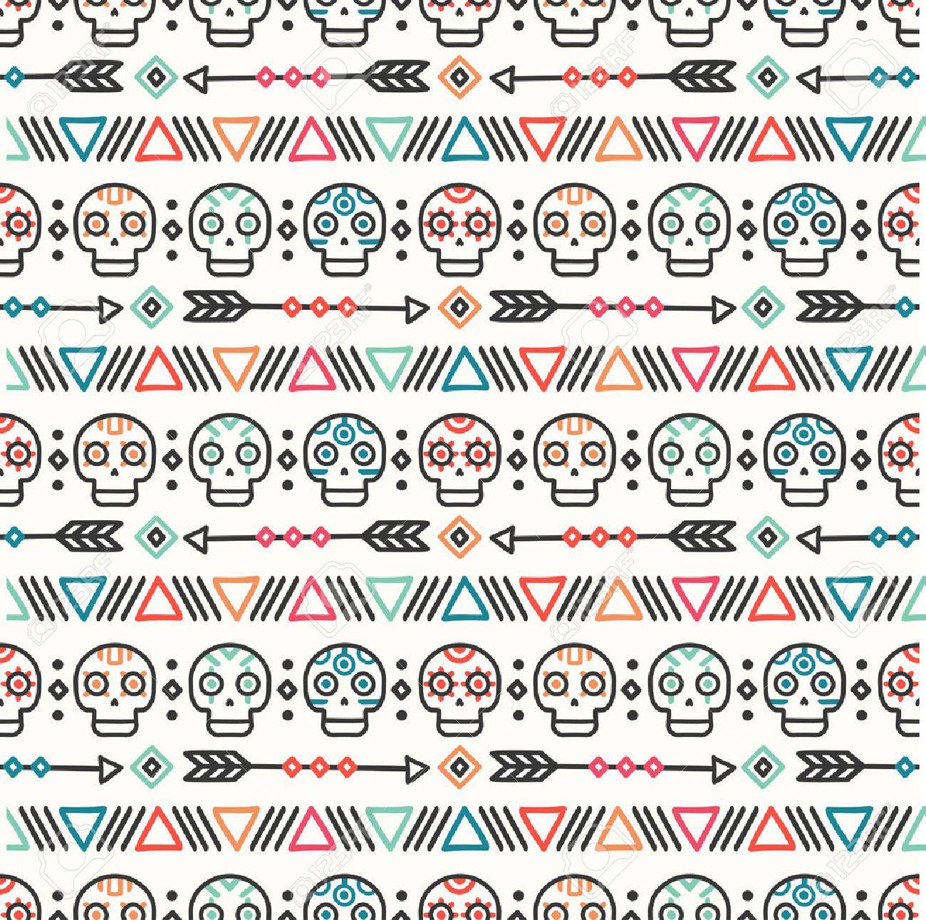 Le jour des morts. Modèle tribal à la main tiré par la ligne ethnique mexicaine sans soudure. Frontière. Papier cadeau. Impression. Doodles. Carrelage. Illustration vectorielle native faite à la main. Contexte aztèque. Texture. Style de crâne. Banque d'images - 75748477