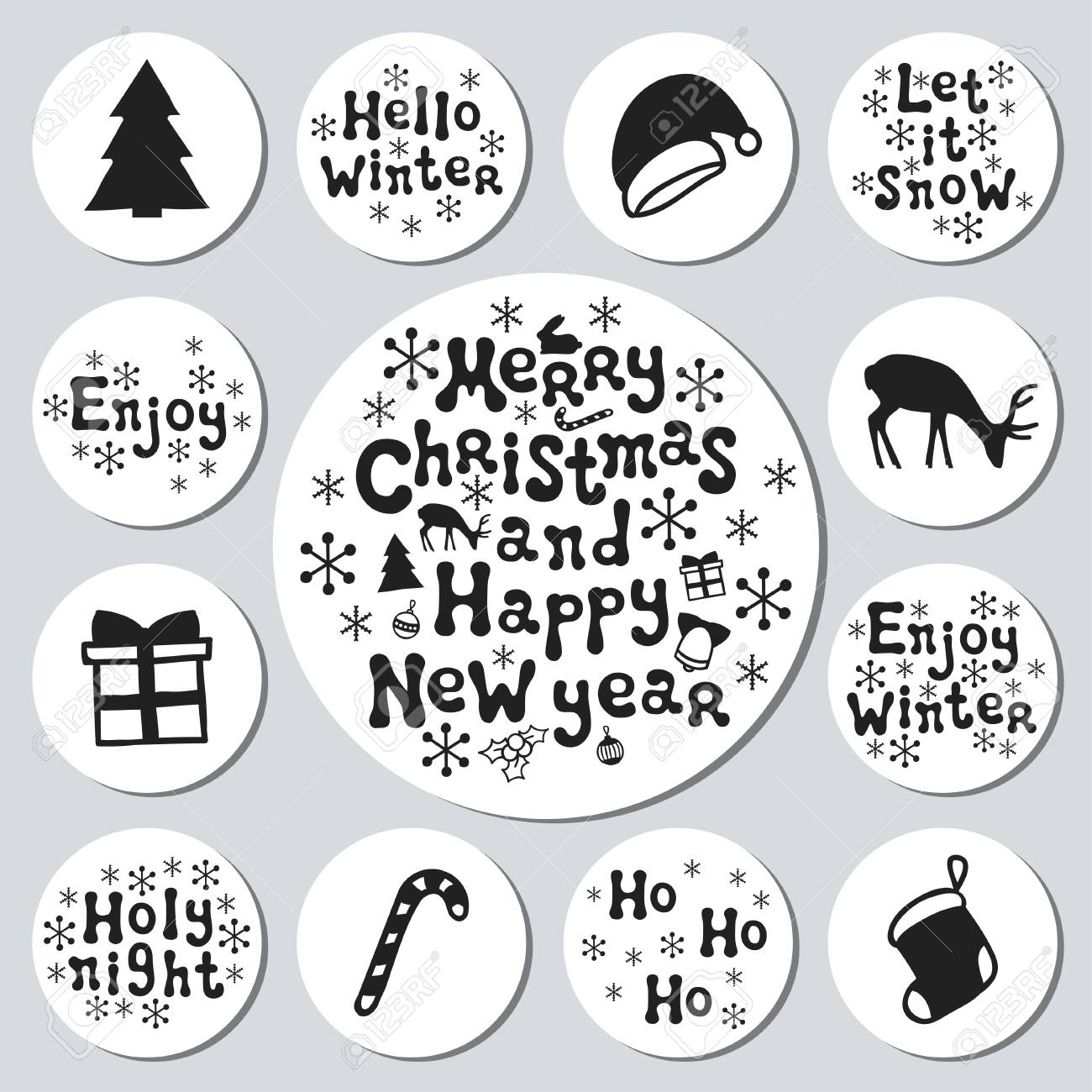 christmas new year gift round stickers labels xmas set hand drawn decorative element