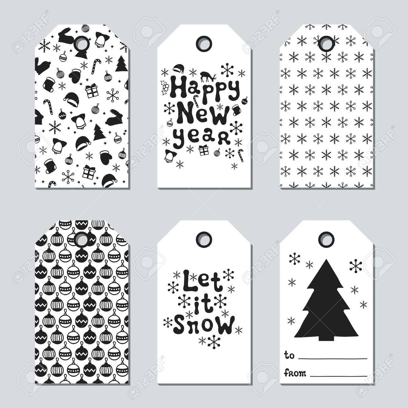 Navidad Y Etiquetas Del Regalo Del Ano Nuevo Tarjetas Navidad - Postales-navidad-dibujos