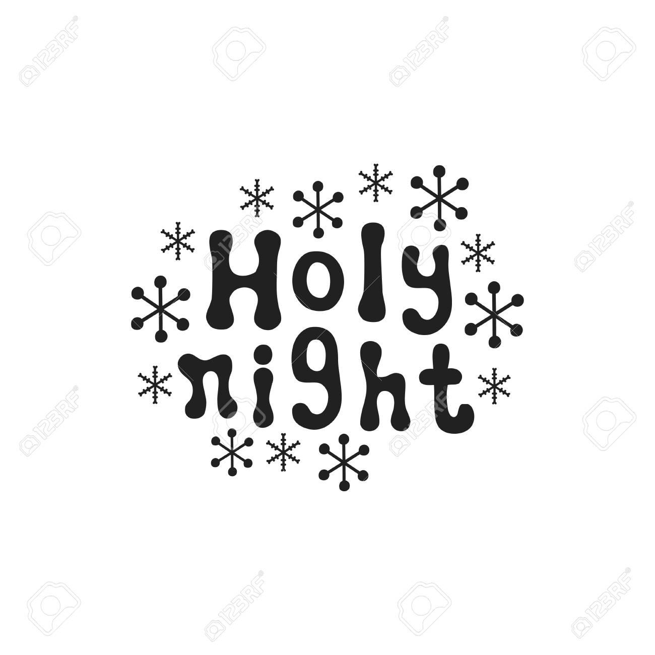 Noche Sagrada Frase De La Caligrafía De La Navidad El Cepillo Manuscrito Sazona Las Letras Frase De Navidad