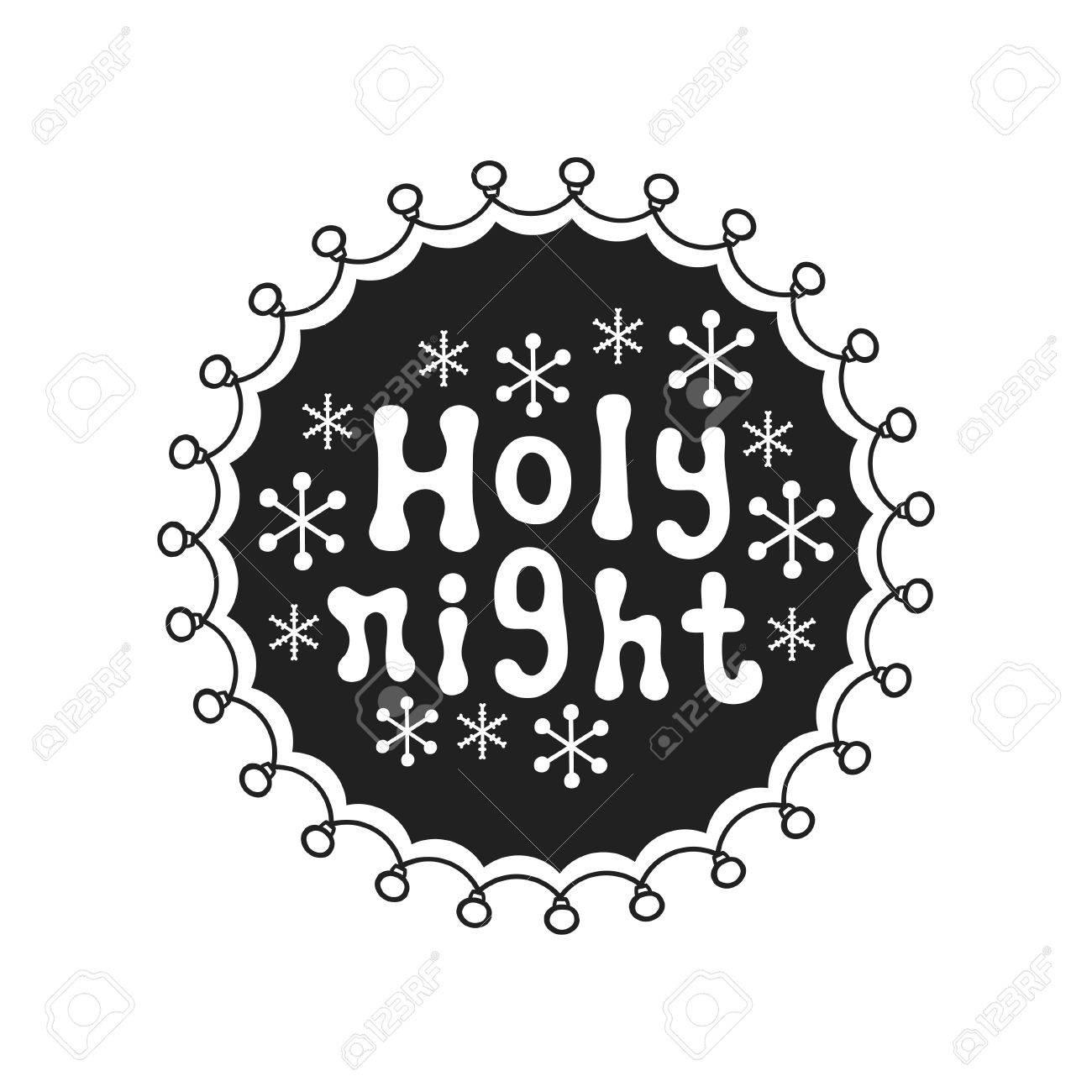 Noche Sagrada Caligrafía Letras De Estaciones Escritas A Mano Frase De Navidad Elemento Dibujado A Mano Vacaciones Texto De La Tarjeta De