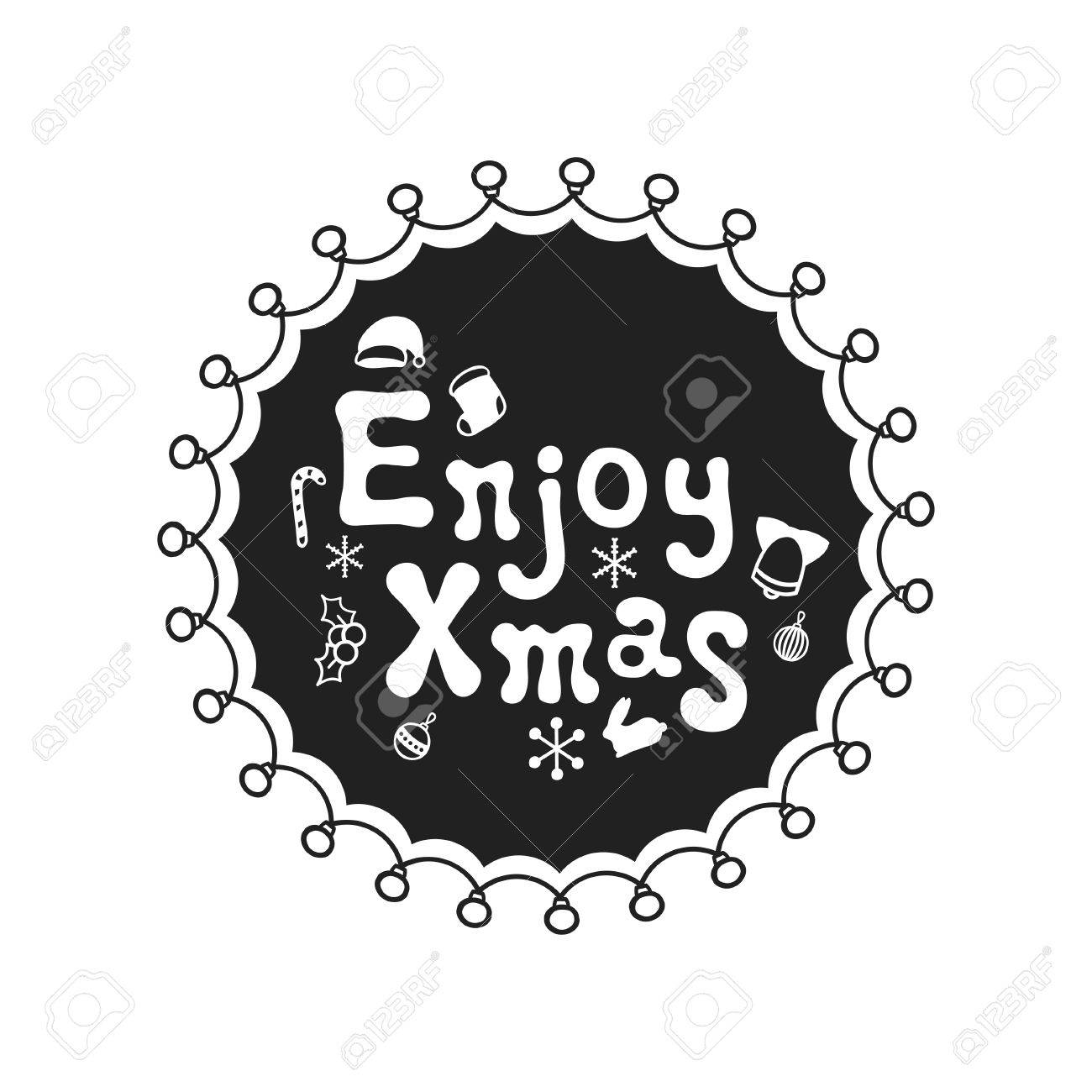 Enjoy xmas calligraphy phrase handwritten brush seasons calligraphy phrase handwritten brush seasons lettering xmas phrase hand drawn kristyandbryce Choice Image