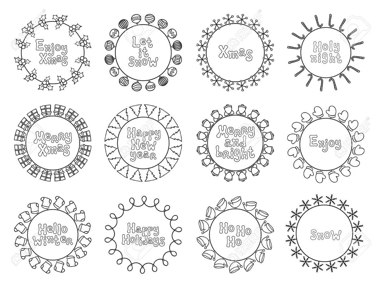 Merry Christmas New Year Wishes Labels Stickers And Badges. Hand ...