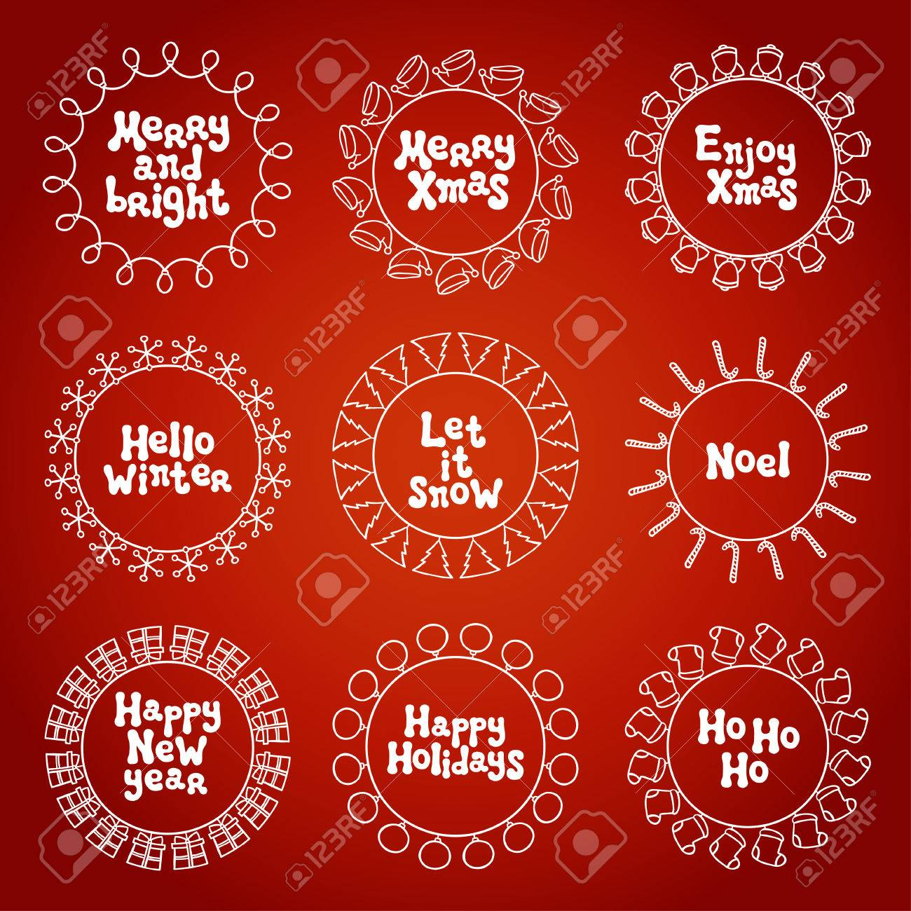Merry Christmas New Year Wishes Labels Stickers And Badges Hand
