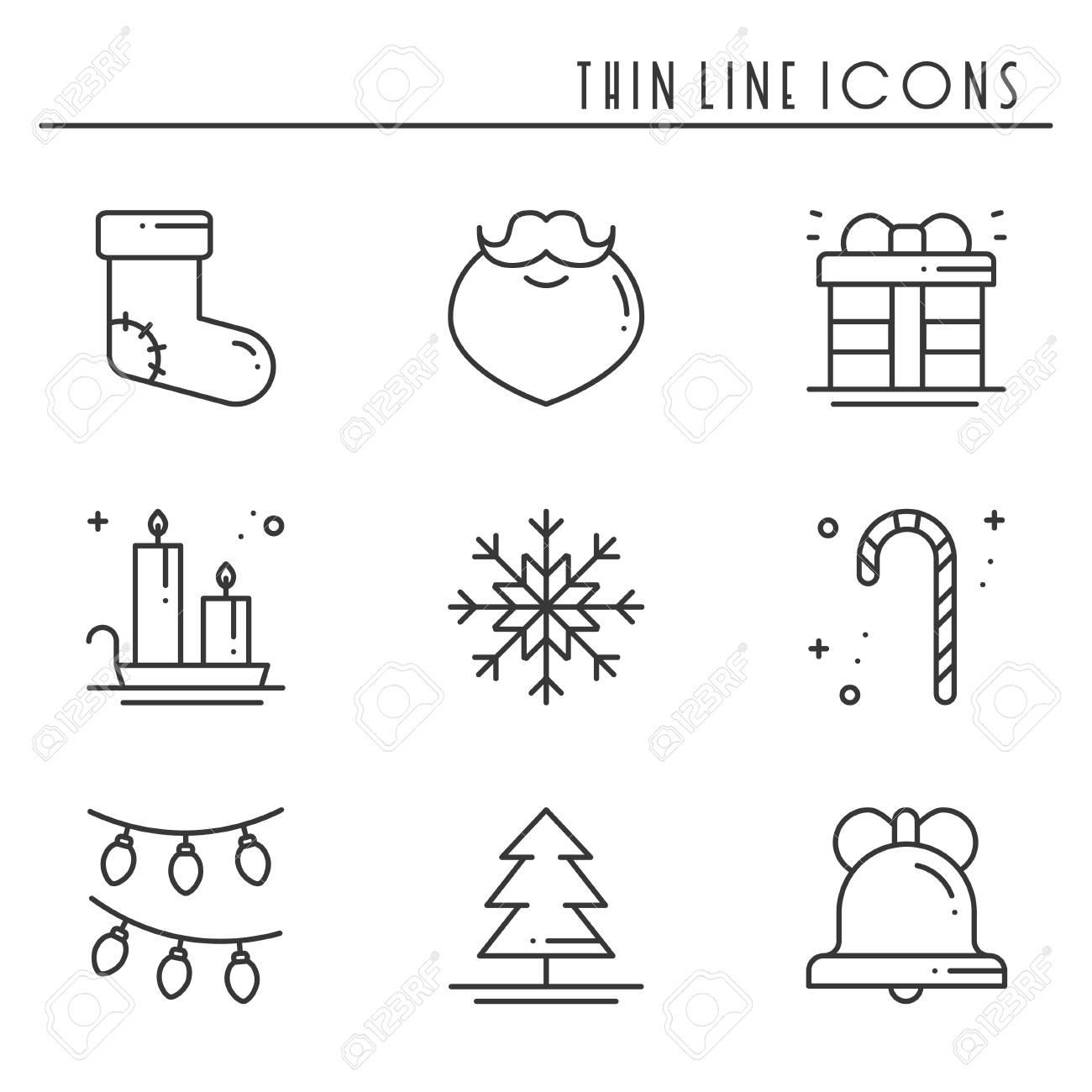 クリスマス休日の細い線のアイコンを設定します新年祝賀会概要集