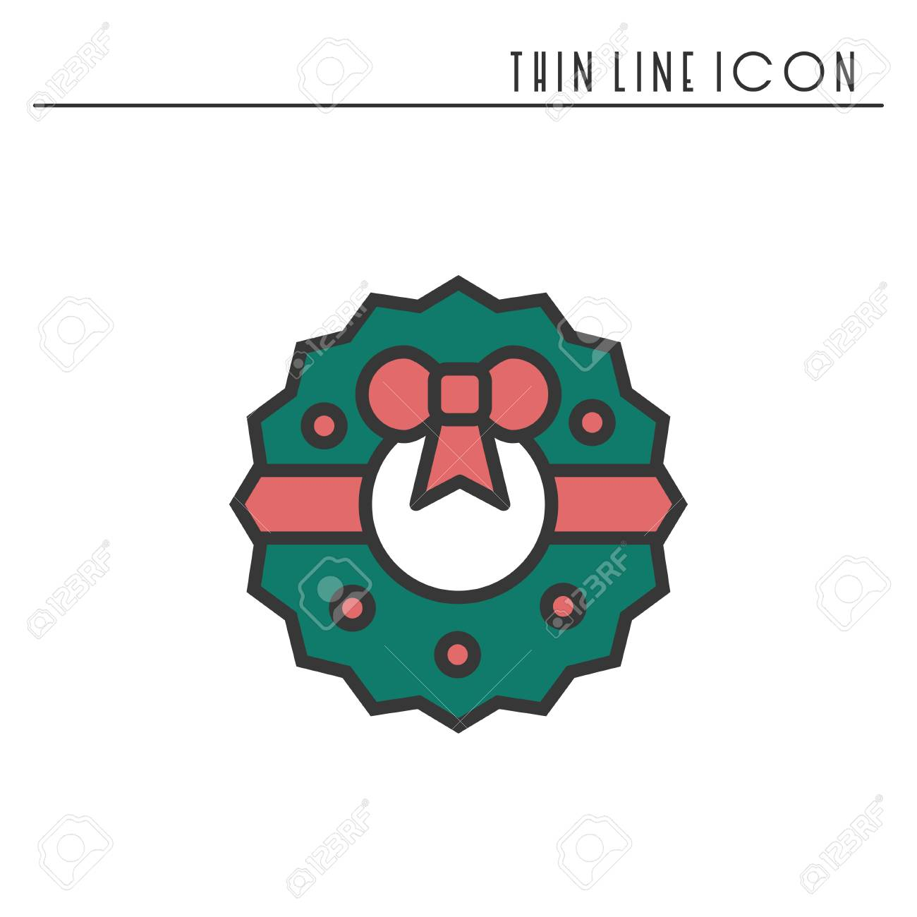 Christmas Wreath With Bow Thin Line Icon New Year Celebration