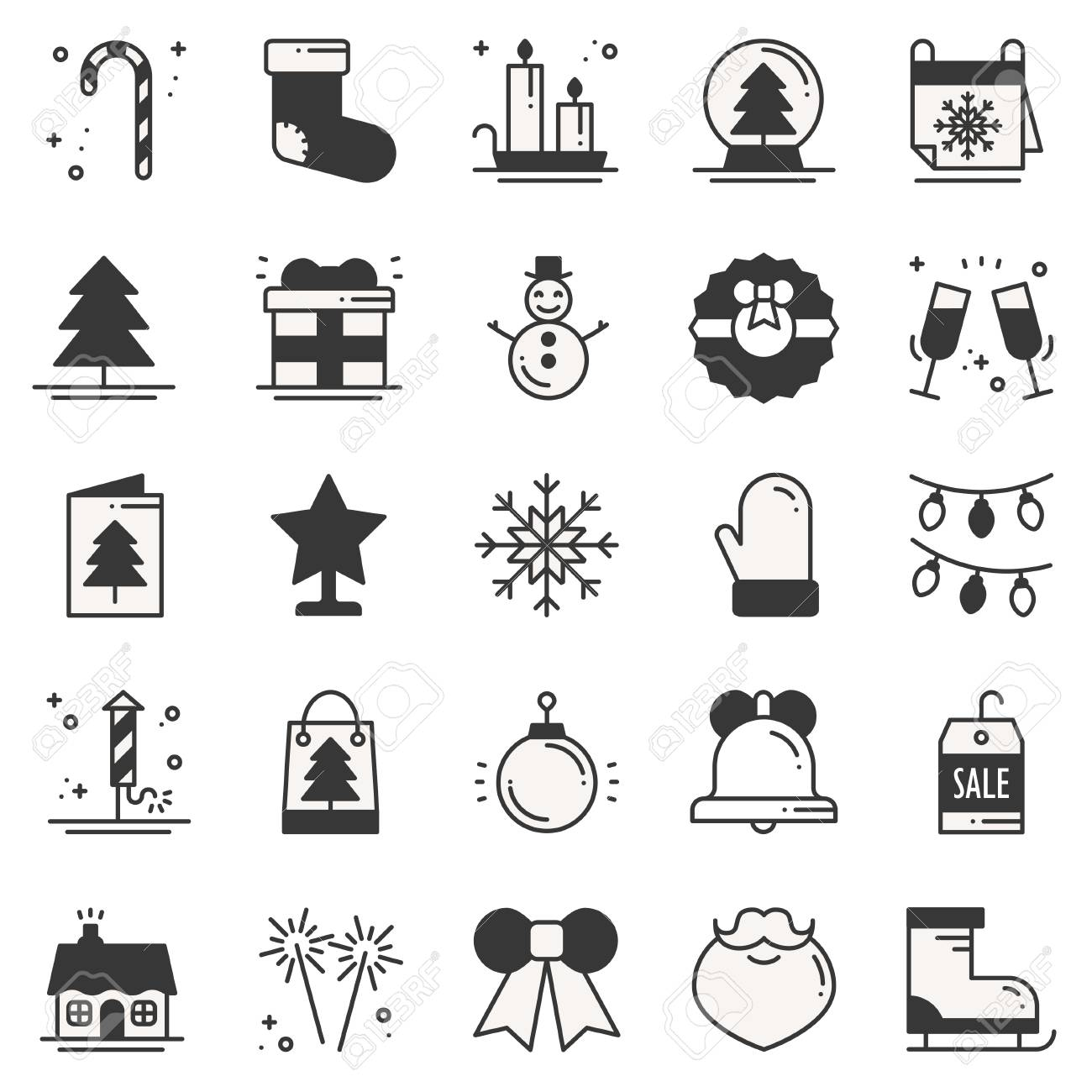 Christmas holiday thin line silhouette icons set. New Year celebration..