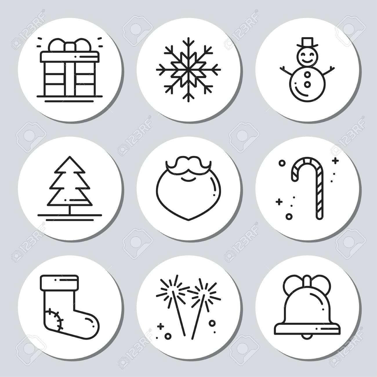 christmas new year icons gift round stickers labels xmas set hand drawn decorative element