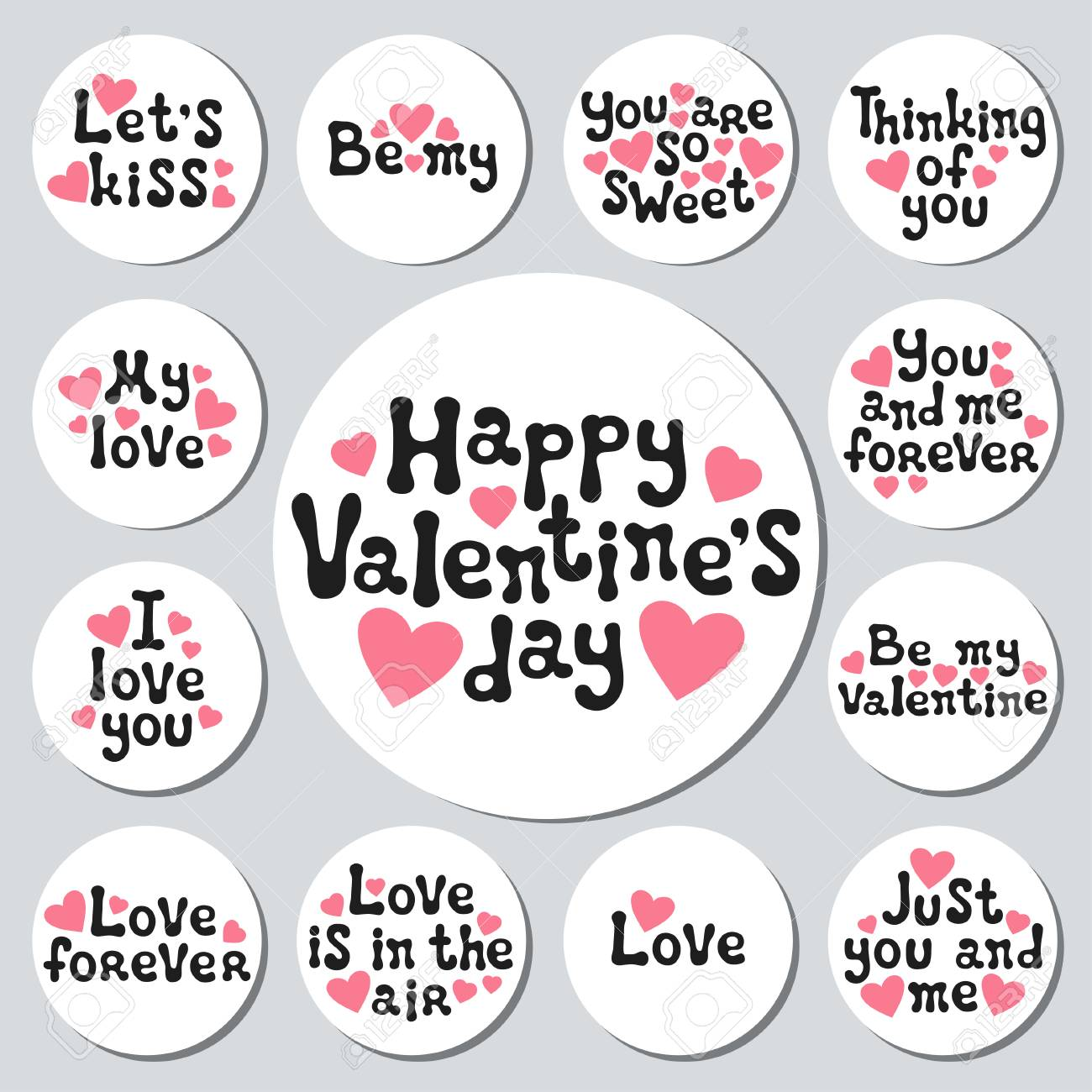 aa69f4c1af9 Valentines day round stickers set. Romantic labels badges. Hand drawn  decorative element. Love