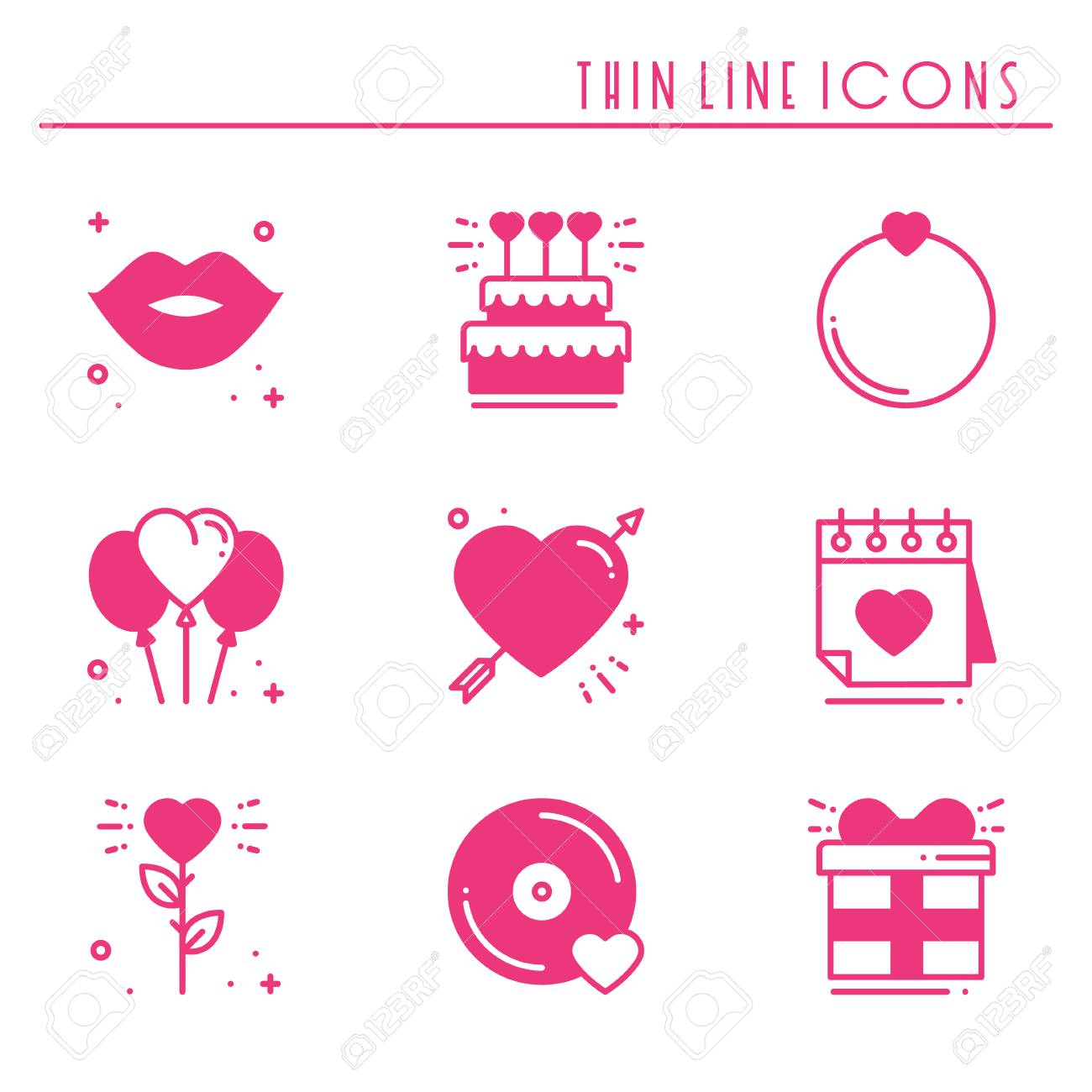 Love Line Icons Set Happy Valentine Day Pink Silhouette Signs
