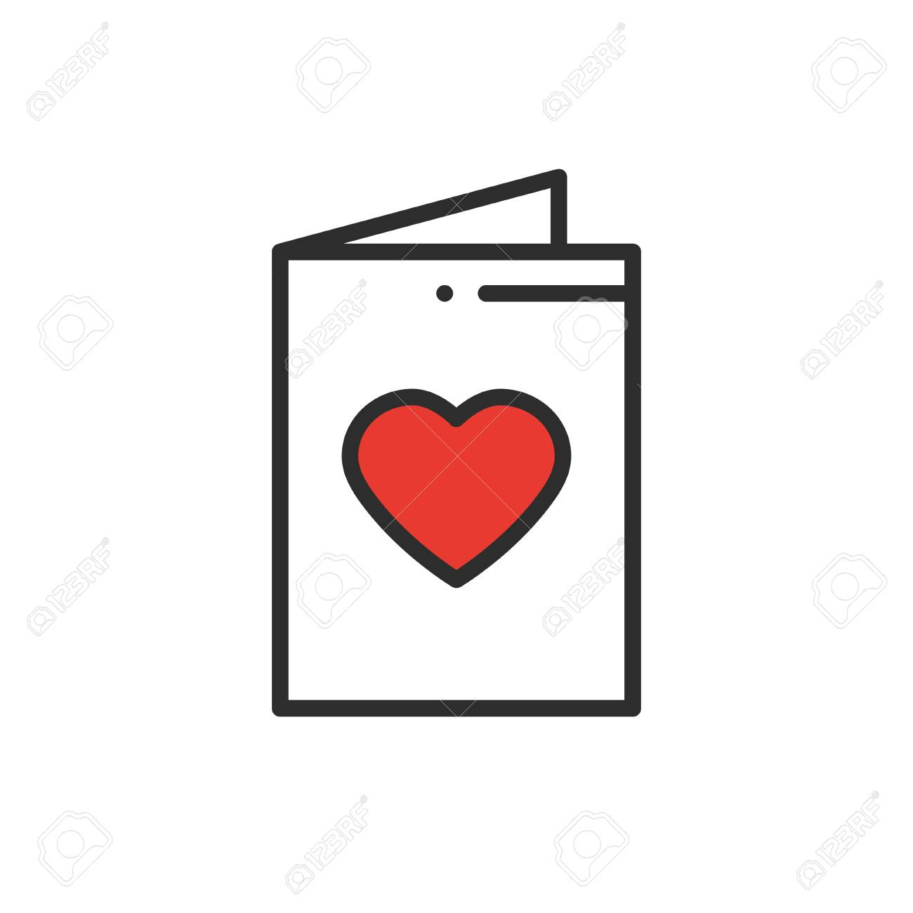 Postcard Line Icon Happy Valentine Day Sign And Symbol Love