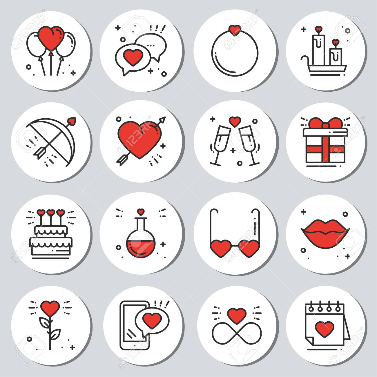 photograph relating to Round Printable Labels named St Valentines working day spherical printable stickers fixed. Passionate labels..