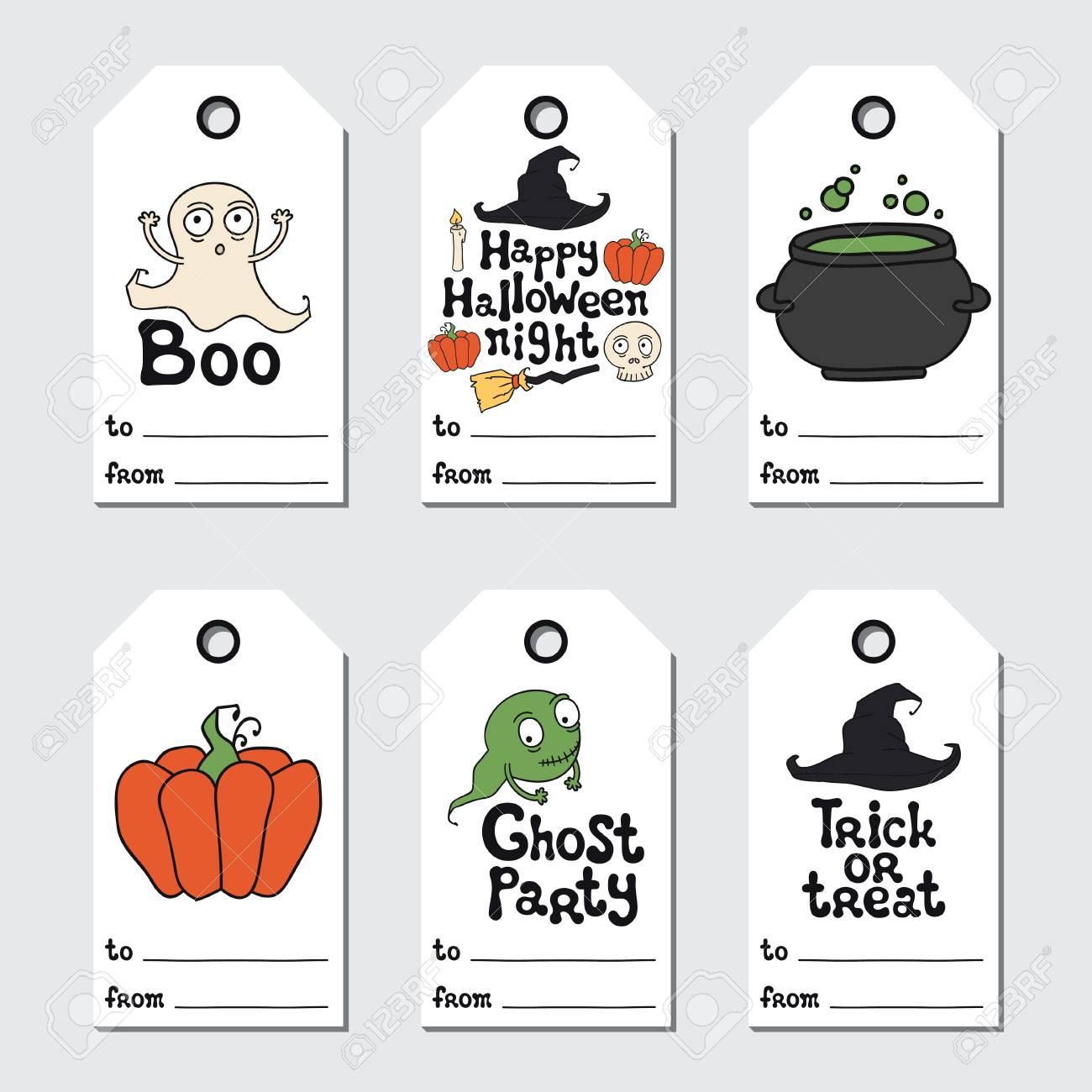 photograph regarding Printable Tags called Halloween present tags. Printable tags choice. Handdrawn lettering..