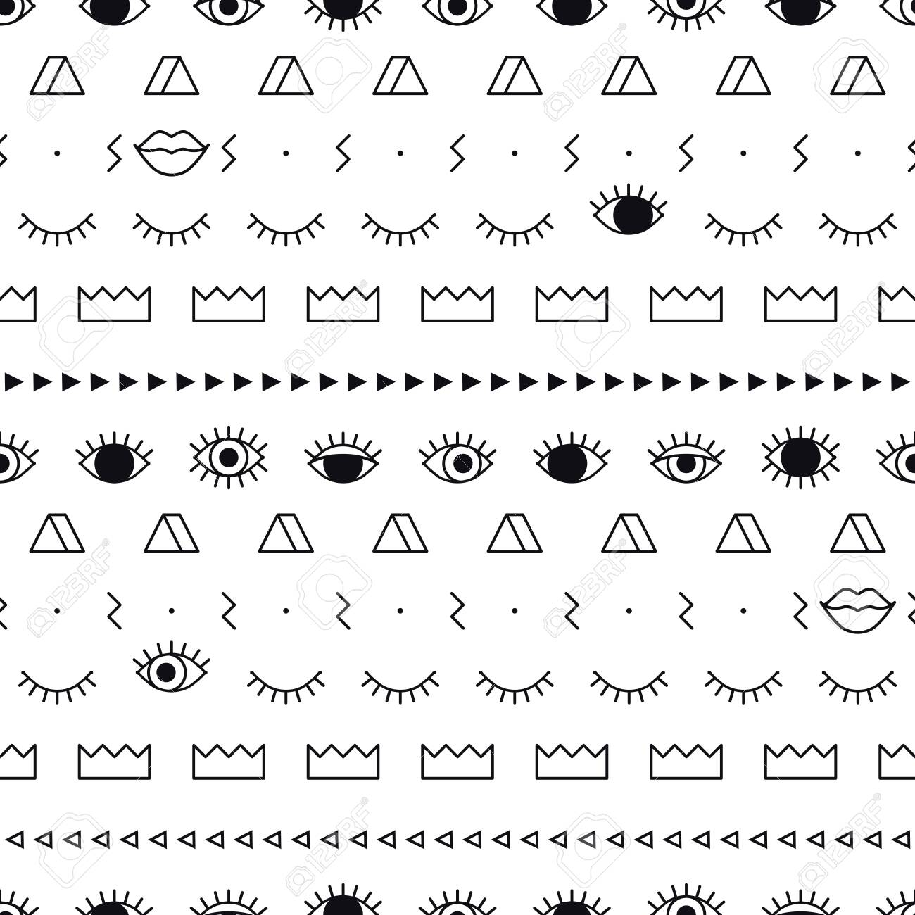 Memphis pattern with psychedelic eyes, lips and geometric shapes