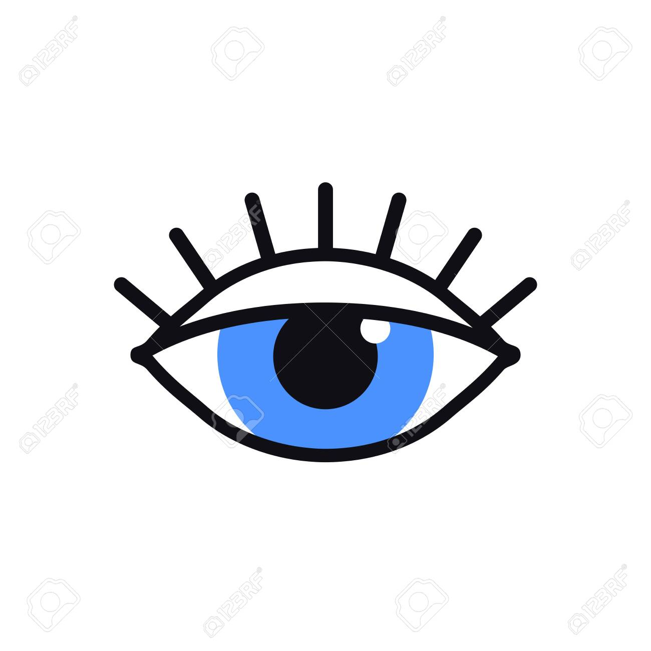 Open Blue Eye Line Icon On White Background Look See Sight Royalty Free Cliparts Vectors And Stock Illustration Image 137692923