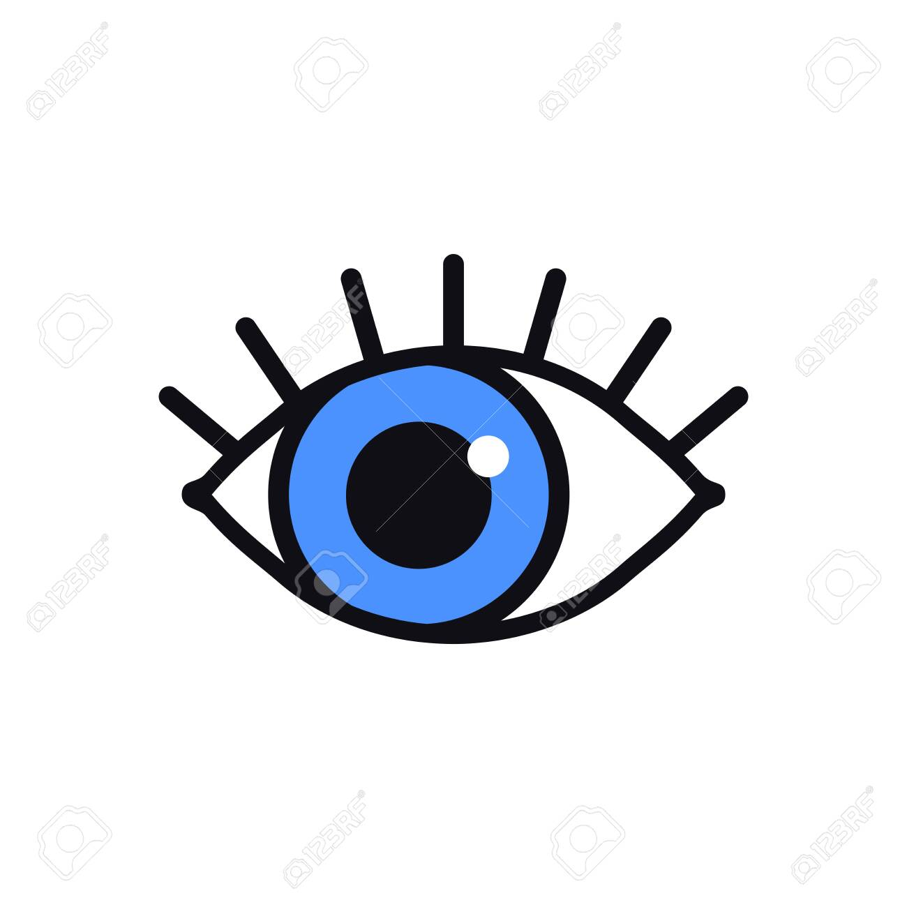 Open Blue Eye Line Icon On White Background Look See Sight Royalty Free Cliparts Vectors And Stock Illustration Image 137699507