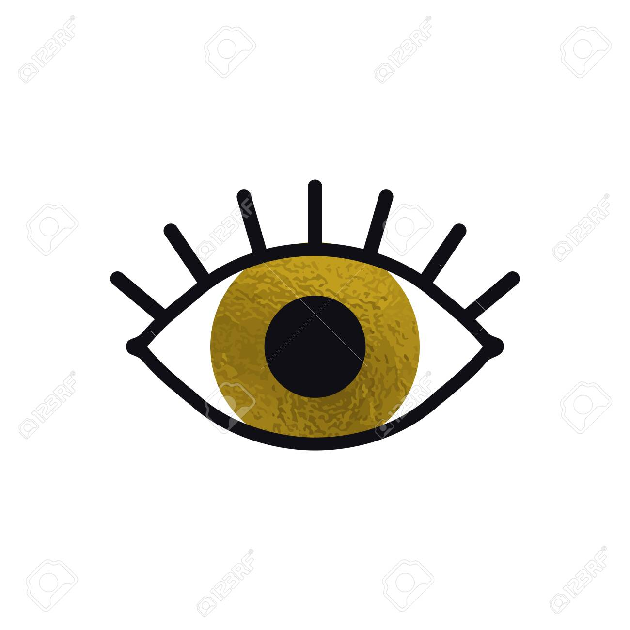 Open Gold Eye Line Icon On White Background Look See Sight Royalty Free Cliparts Vectors And Stock Illustration Image 138661301