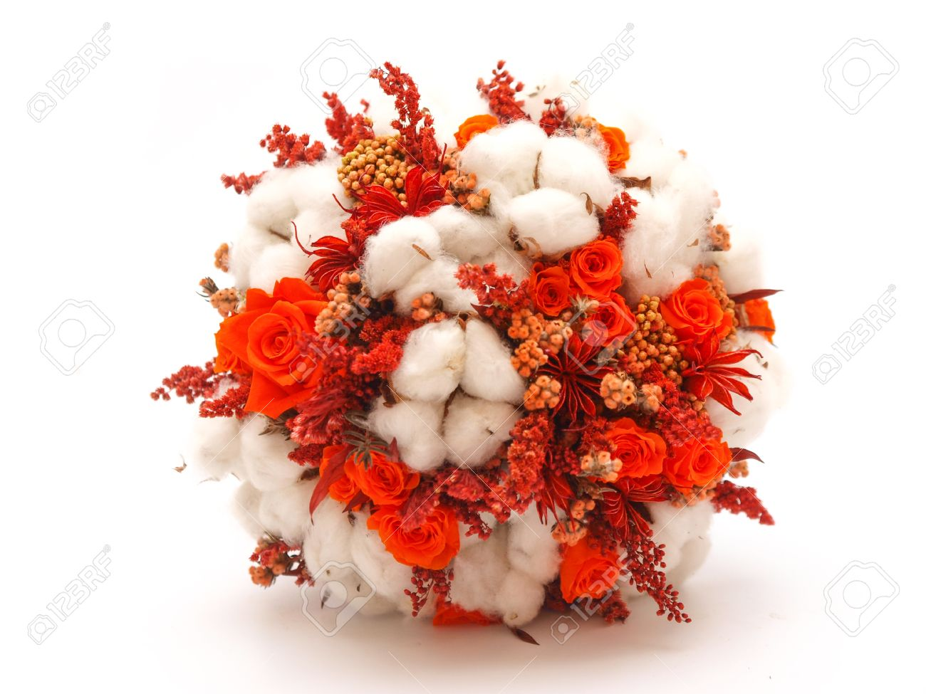 Preserved Flowers And Cotton Wedding Bouquet On White Background ...