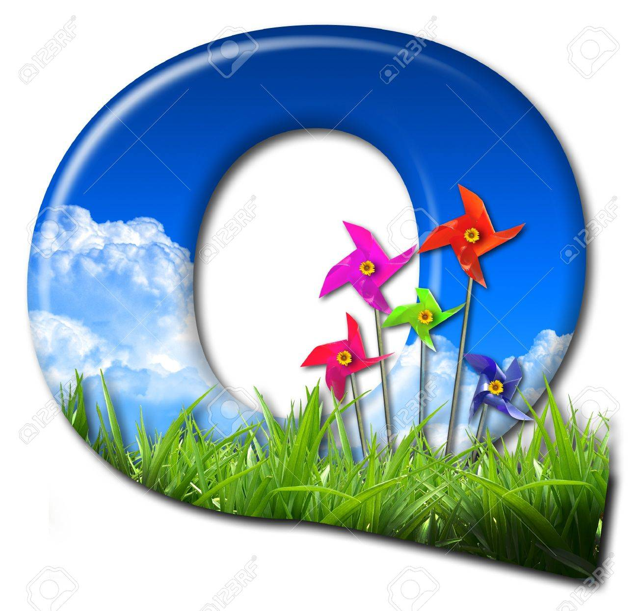 One letter of Nature alphabet and Toy wind turbine Stock Photo - 10948397