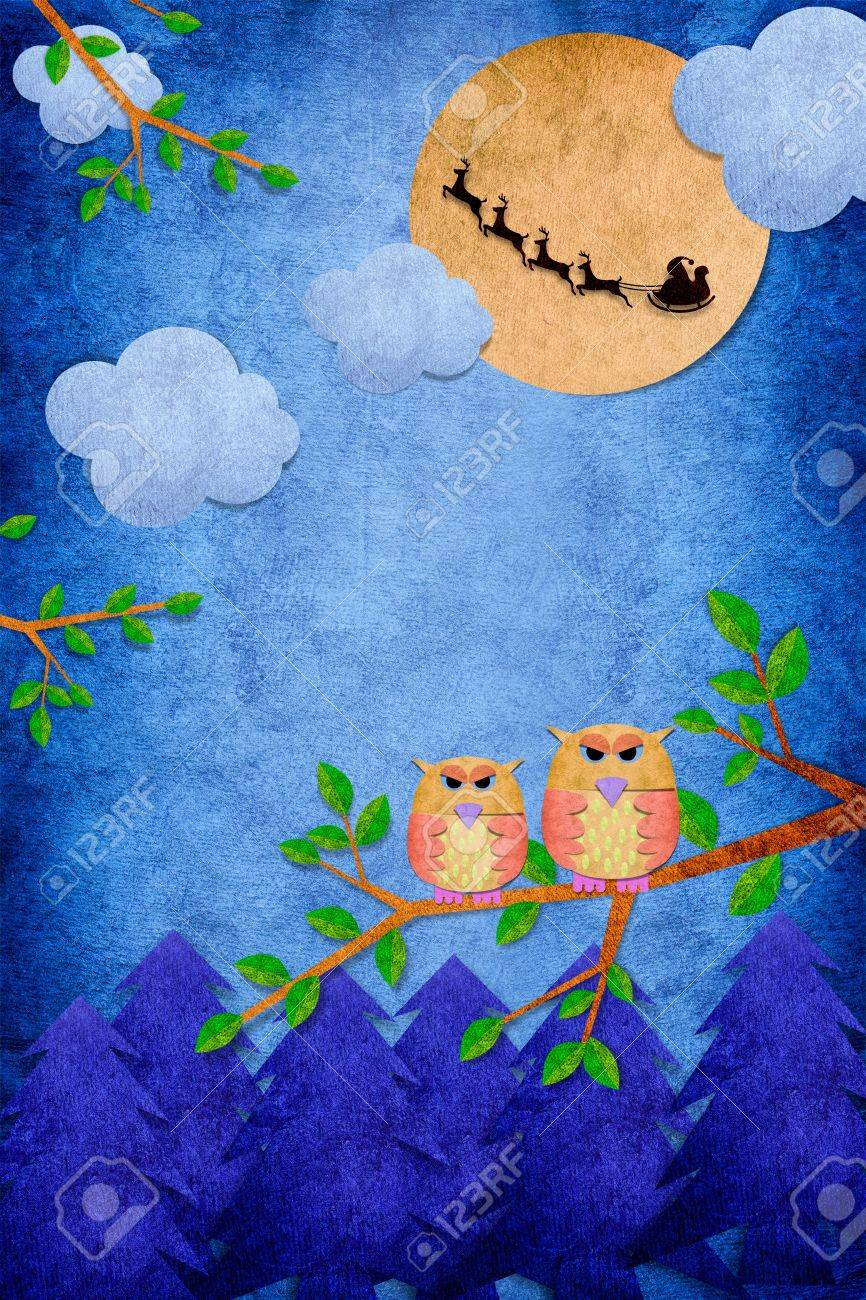 Owl bird in the day on paper craft background with santa stock owl bird in the day on paper craft background with santa stock photo 11127155 jeuxipadfo Image collections