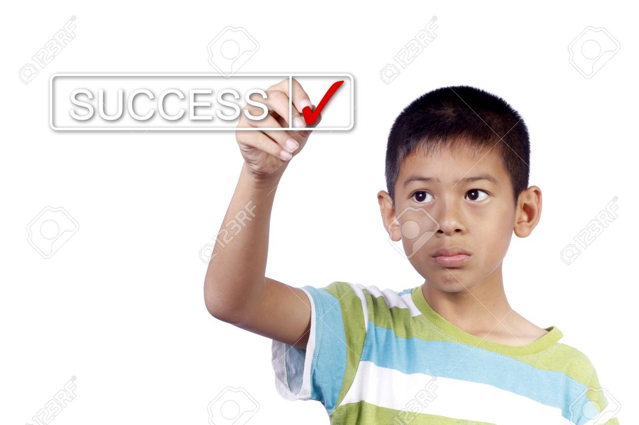 kid hand checking success list on white background Stock Photo - 13348937