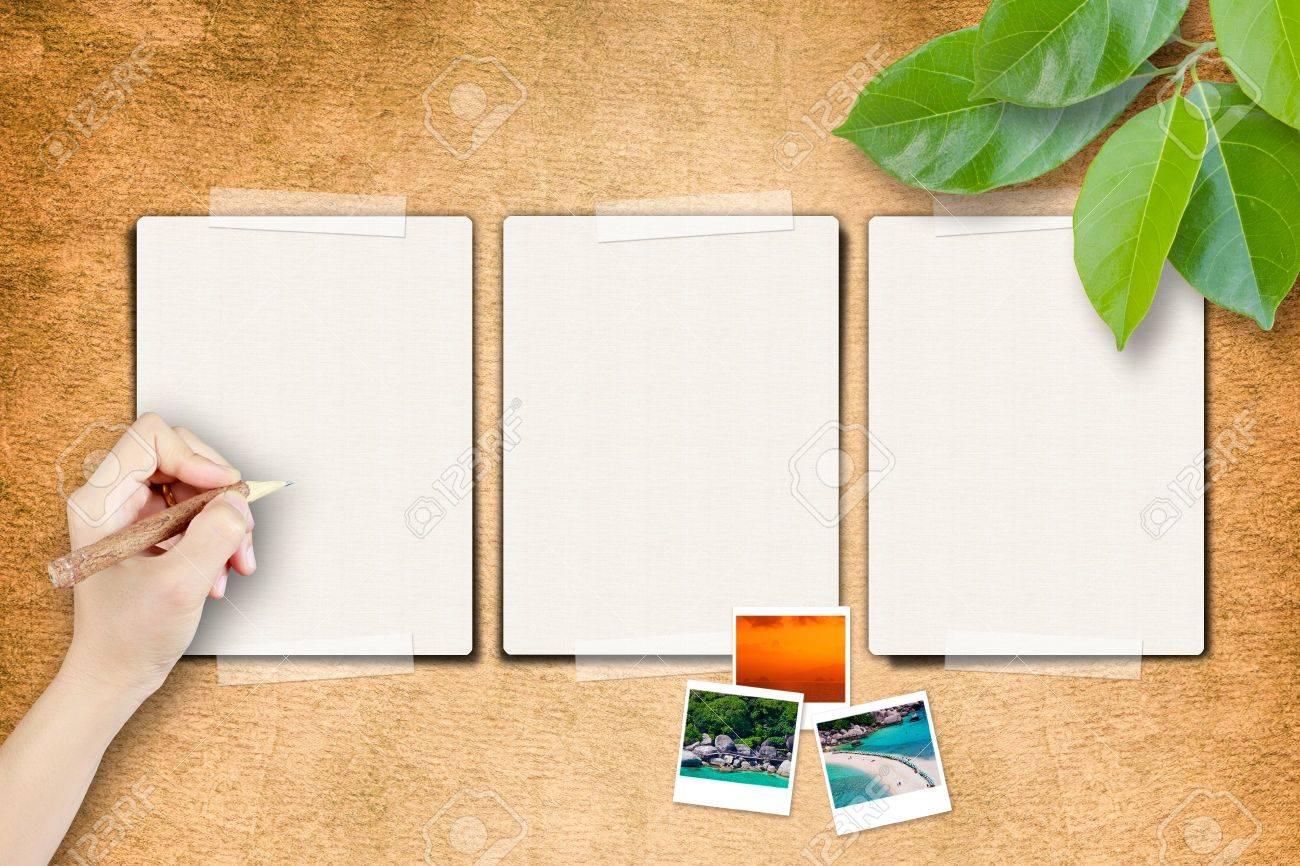 Las Páginas En Blanco Y Escribir A Mano Con Marco De Fotos En El ...