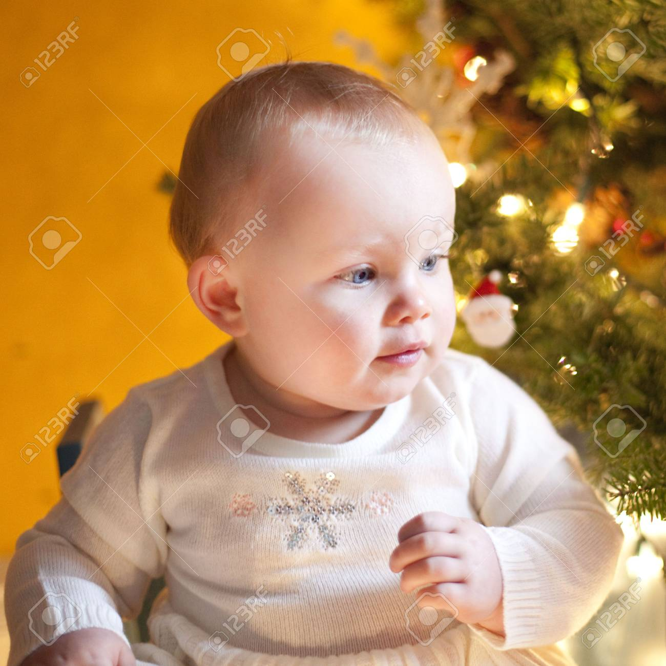 This is  a Baby Happy during Xmas Stock Photo - 6054910