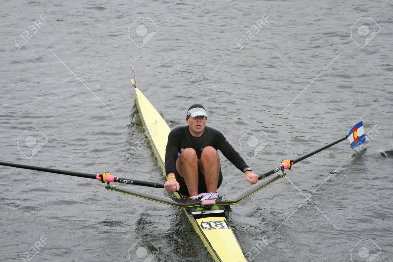 BOSTON - OCTOBER 18: Mark Lodmill of Rocky Mountain Rowing Club competes in the Head Of The Charles Regatta men's Masters Race on October 18, 2009 in Boston, Massachusetts. Stock Photo - 6886135