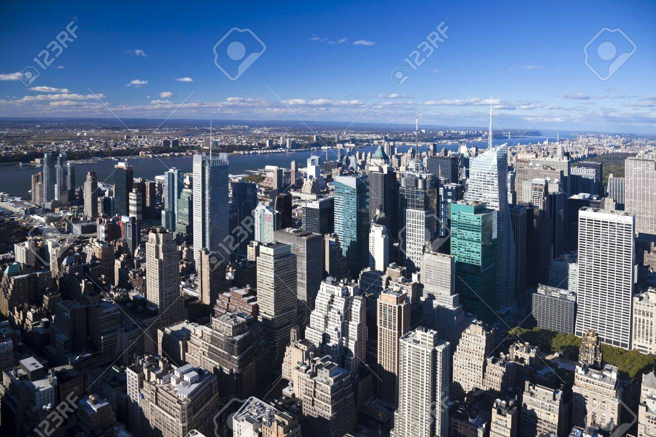 The New York City Uptown panorama with Central park and George Washington bridge Stock Photo - 8182667