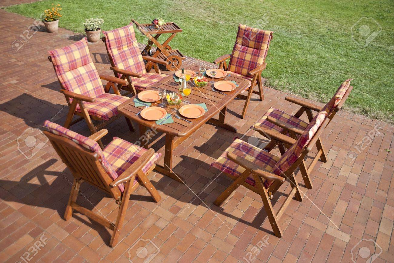 The Garden furniture on the patio Stock Photo - 12990876