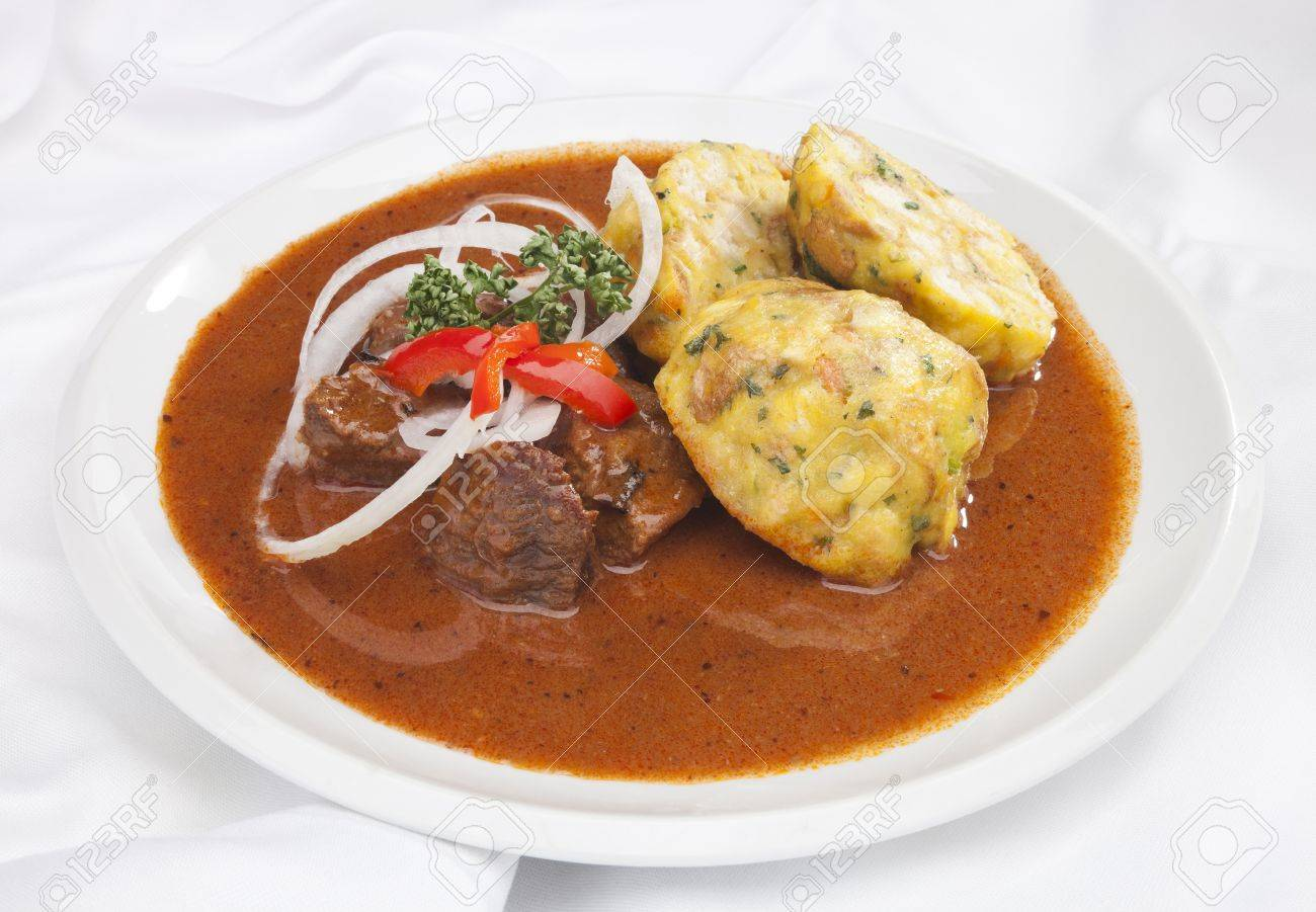 Hungarian Goulash W Dumplings And Vegetable Garnish Stock Photo Picture And Royalty Free Image Image 13040436