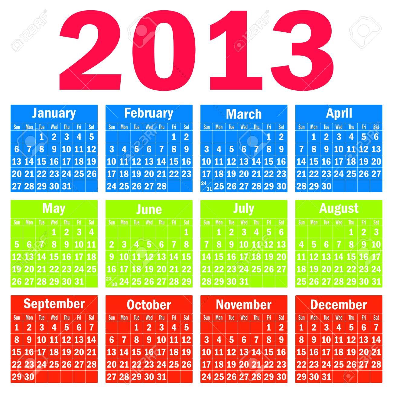 Calendar 2013 Stock Vector - 14679654