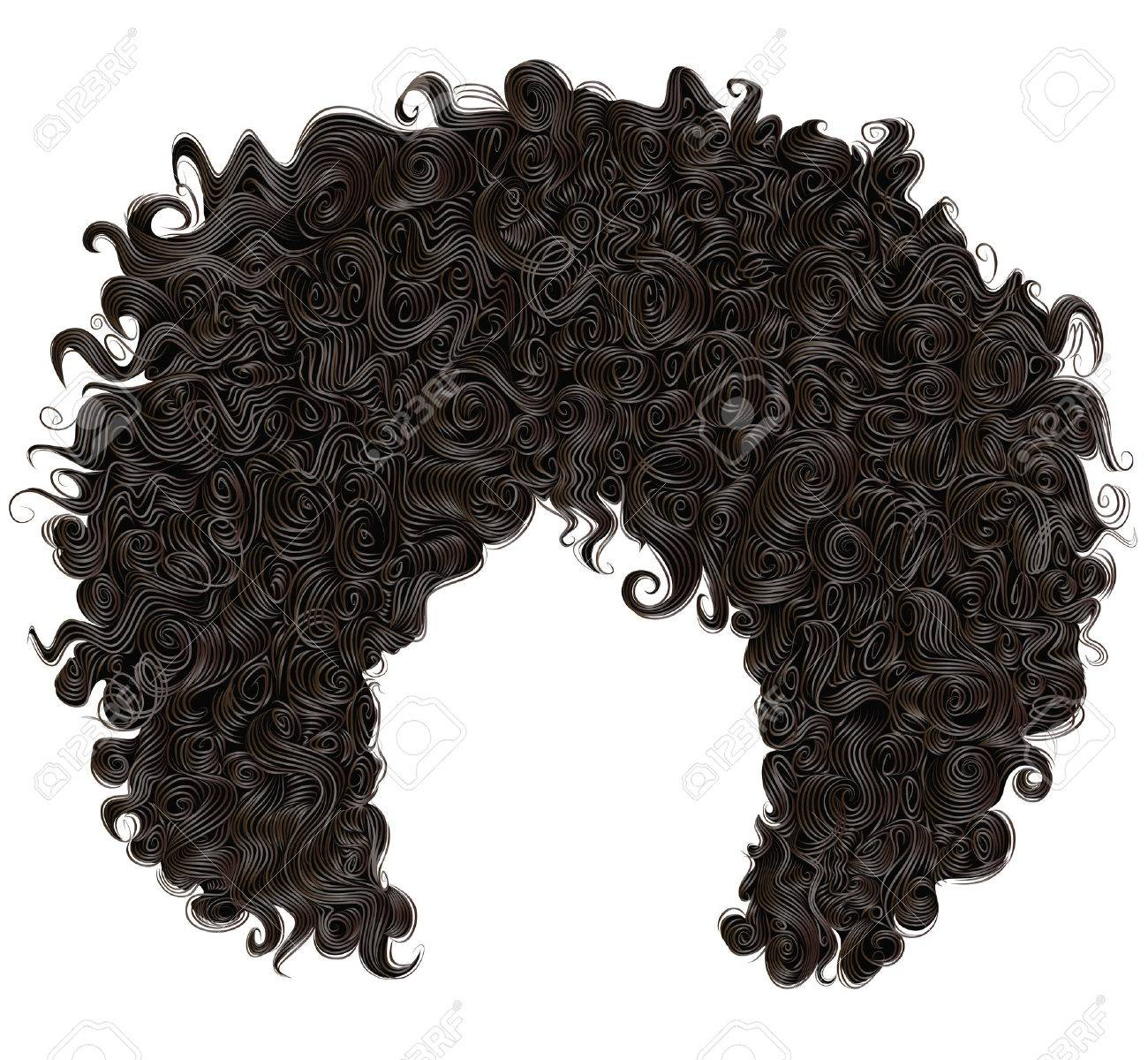 trendy curly african black hair. realistic 3d. fashion beauty style. - 68132475