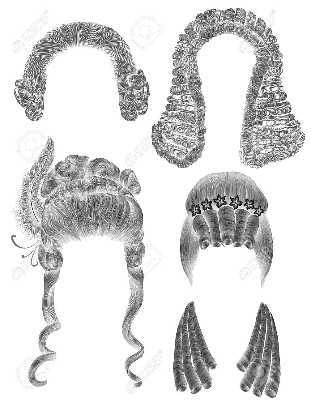 Set woman and man hairs black pencil drawing sketch medieval style rococo baroque