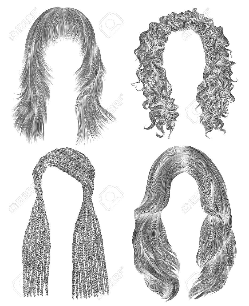 Set long woman hairs black pencil drawing sketch women fashion beauty style african