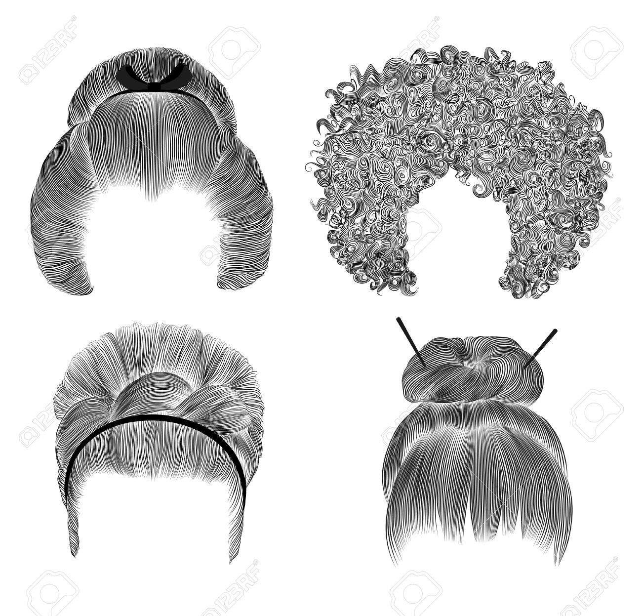 Set of different funny women hairs fringe pencil drawing sketch japanese hairstile bun with