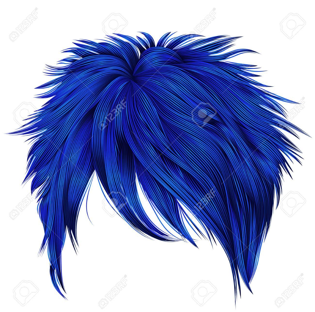 Dunkle Blaue Farben Der Dunklen Haare Der Modischen Frau