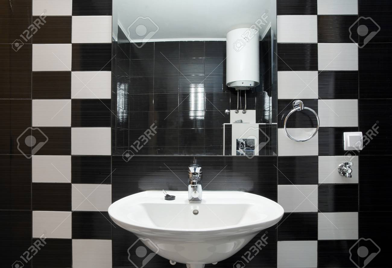 New small apartment bathroom in black. Stock Photo - 8551780