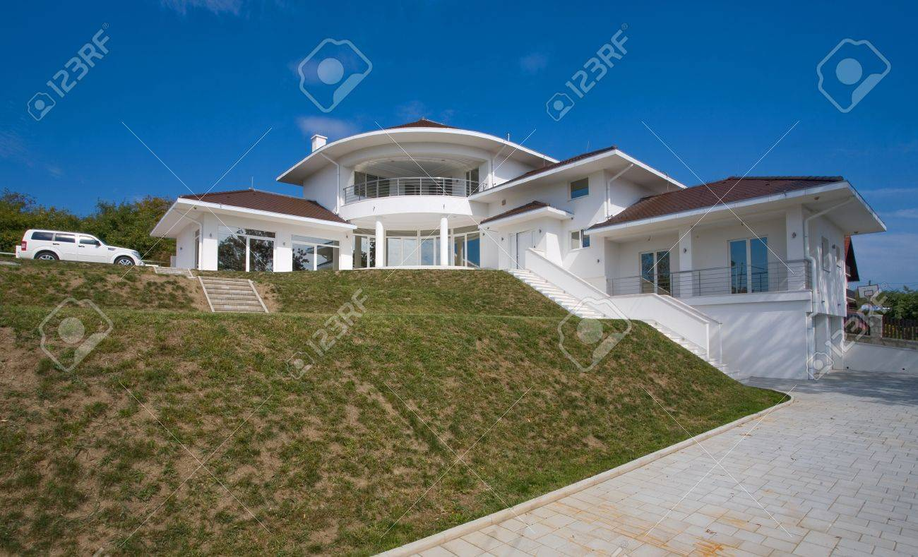 Modern house exterior, large and expensive house architecture. Stock Photo - 8582916
