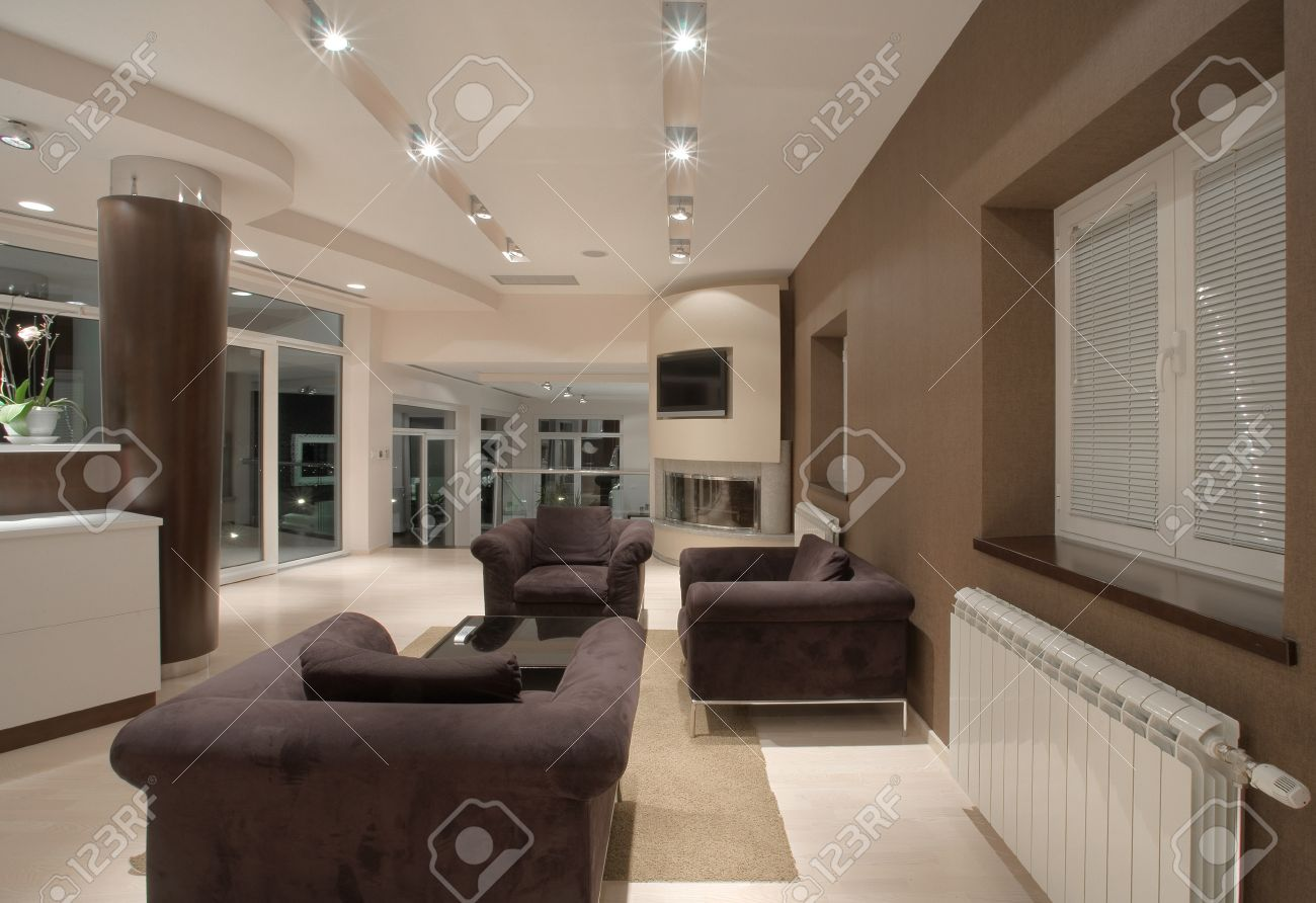 Modern House Interior Large And Expensive Architecture Stock Photo