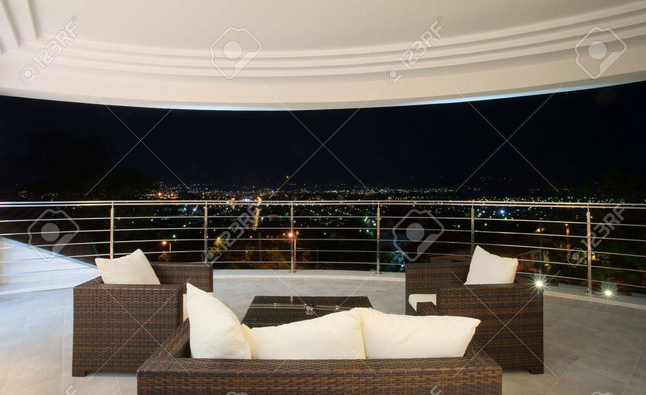 View from a large modern terrace, simple and large in white. Stock Photo - 8582900