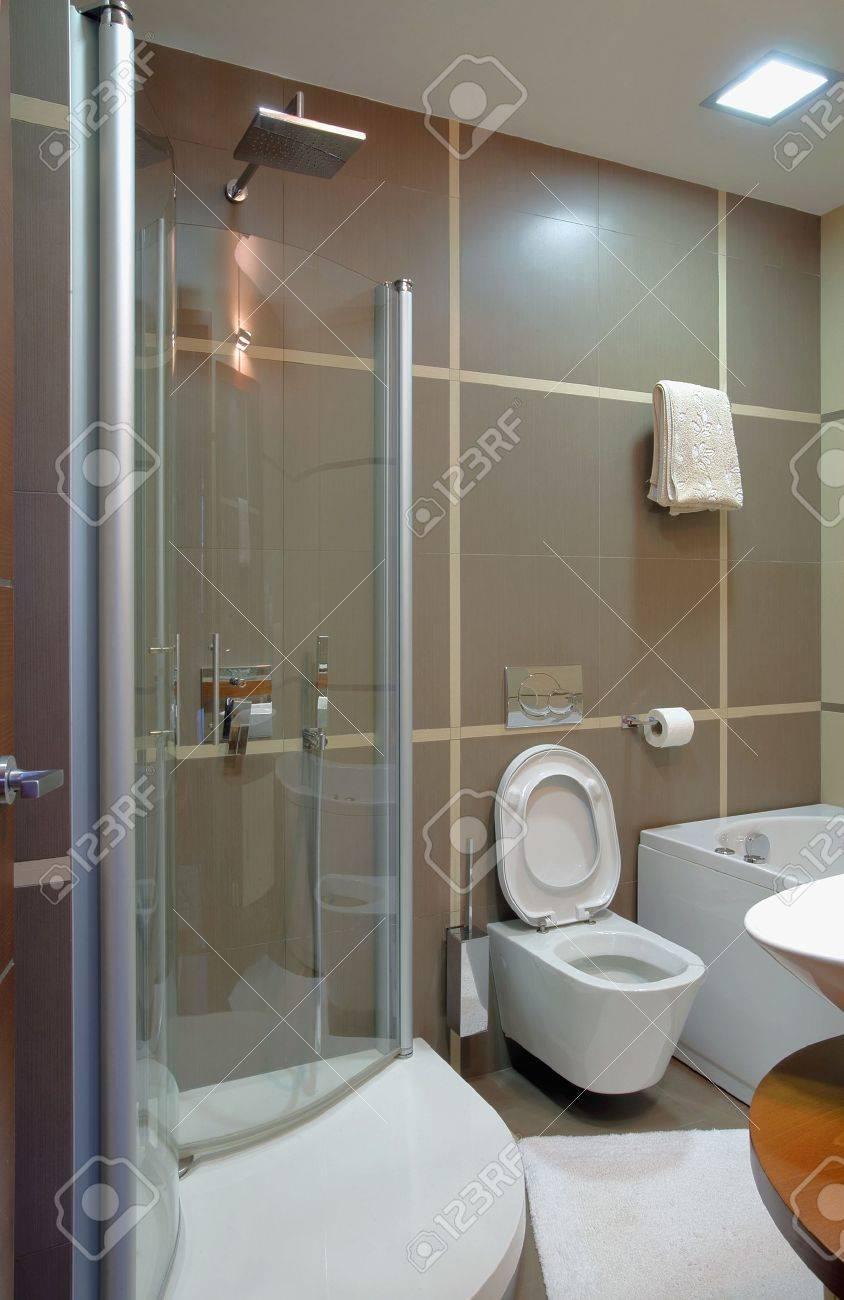 Salle De Bain Moderne Style De Design Intérieur, Minimale, Mobilier ...