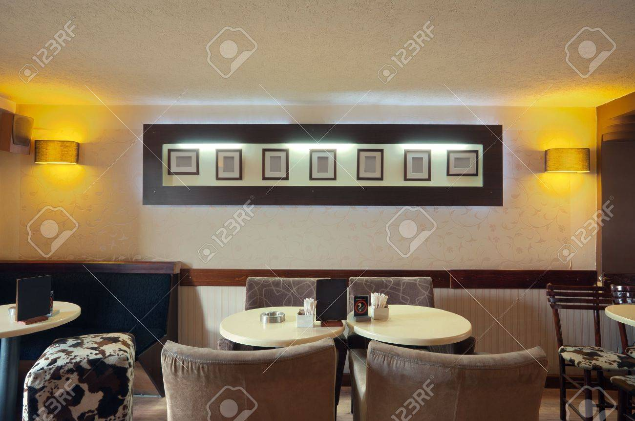 Modern cafe furniture - Interior Of A Modern Cafe Furniture Lighting Equipment And Decoration Stock Photo