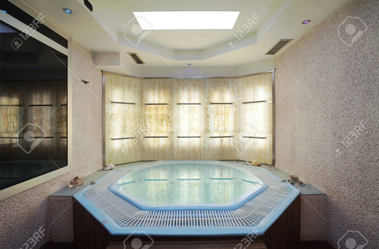 Interior of a hotel jacuzzi modern and simple style stock photo