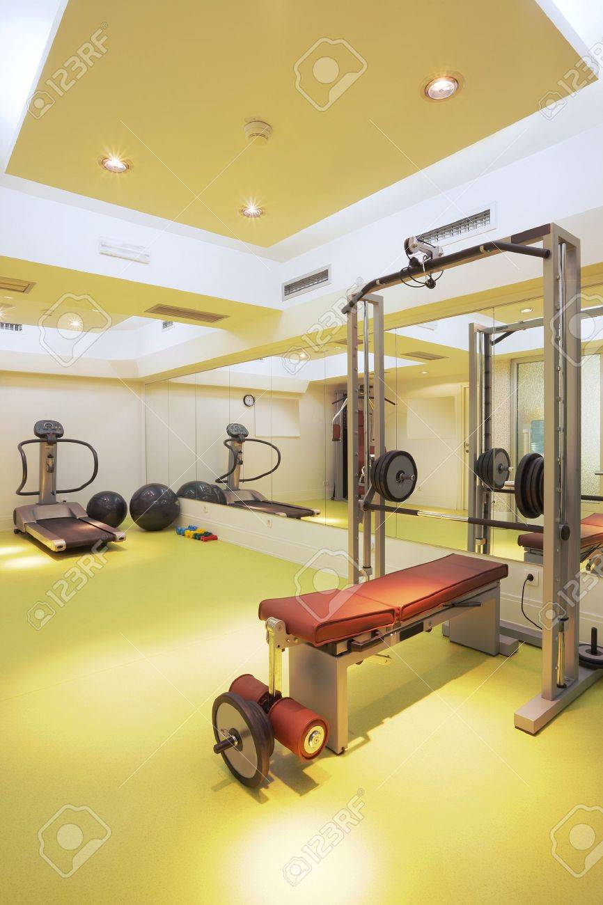 Interior of an empty fitness club with equipment. Stock Photo - 10366164