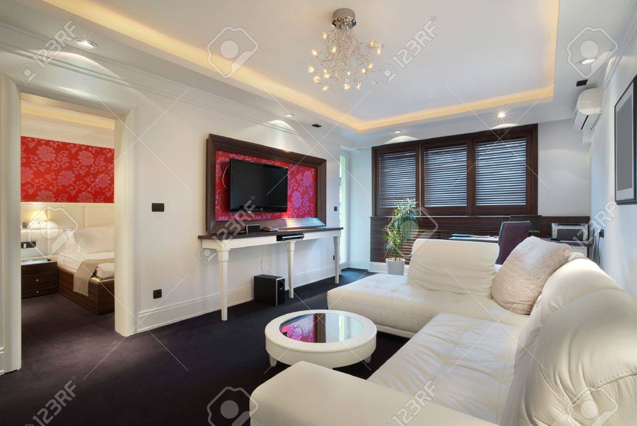 Interior Of A Hotel Apartment With Furniture, Modern Contemporary ...