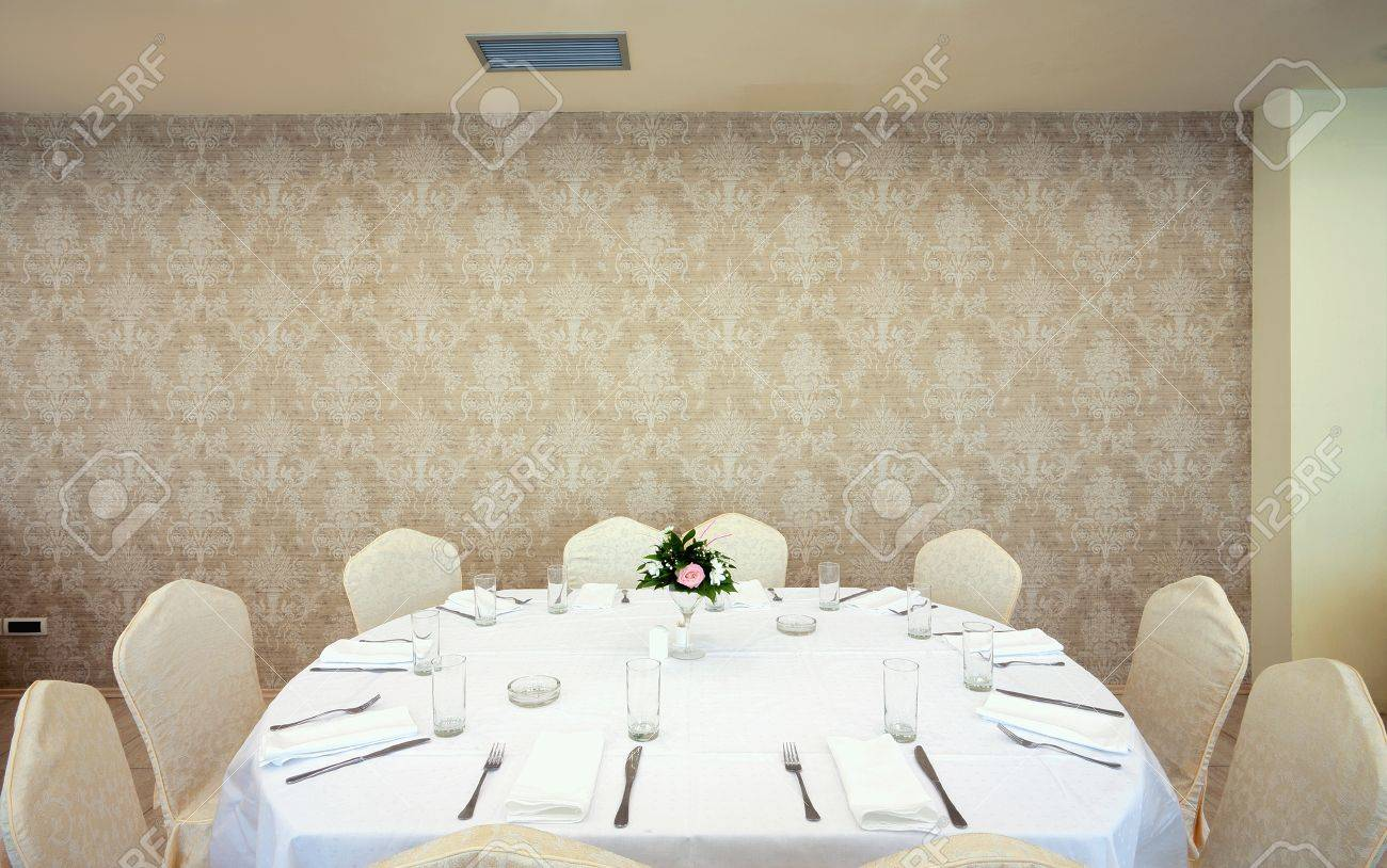 Interior of a restaurant prepared for wedding ceremony. Stock Photo - 11184232