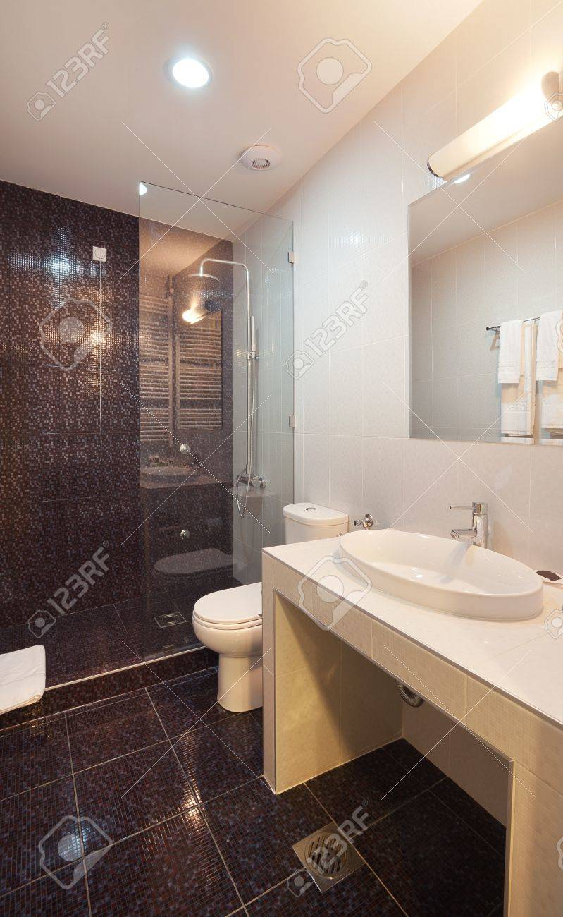 Interior of a toilet, modern style.